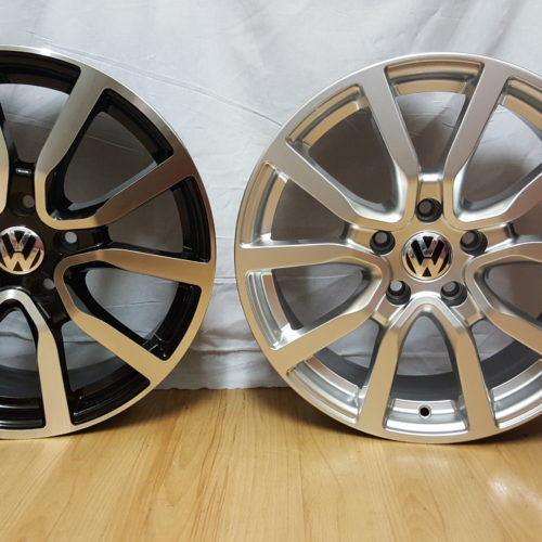 VW GOLF. MODEL 1165. 17×7J ET42 5/112PCD BLACK MACHINED / HYPER SILVER